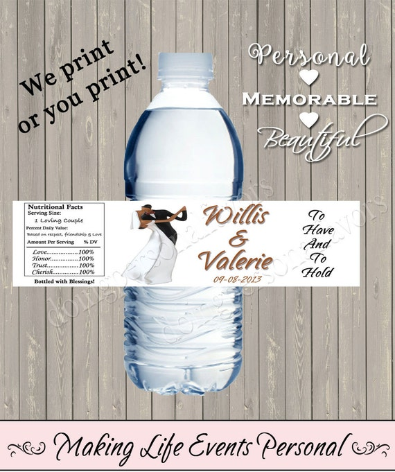 Items Similar To Wedding Water Bottle Labels PERSONALIZED Printable Dancing D