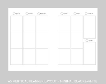 A5 printable planner Vertical inserts-minimal black and white, undated week on two pages-instant download