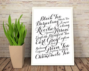 Tea wall art poster: Different types of tea - typographic print.