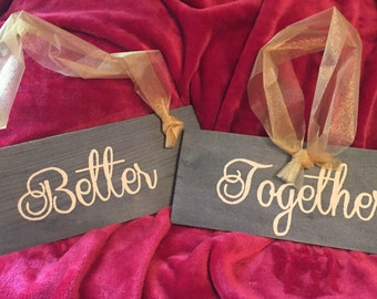 wedding chair signs, bride groom chair signs, Wedding Chair Wood Signs, hand painted wood signs, reception signs, wedding decor wood signs