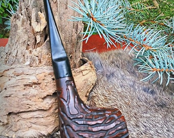 Tree Bark Hand Carved Briar Tobacco Pipe