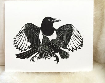 The Magpie & The Starling Linocut Print, Linoleum Cut Print, Unframed