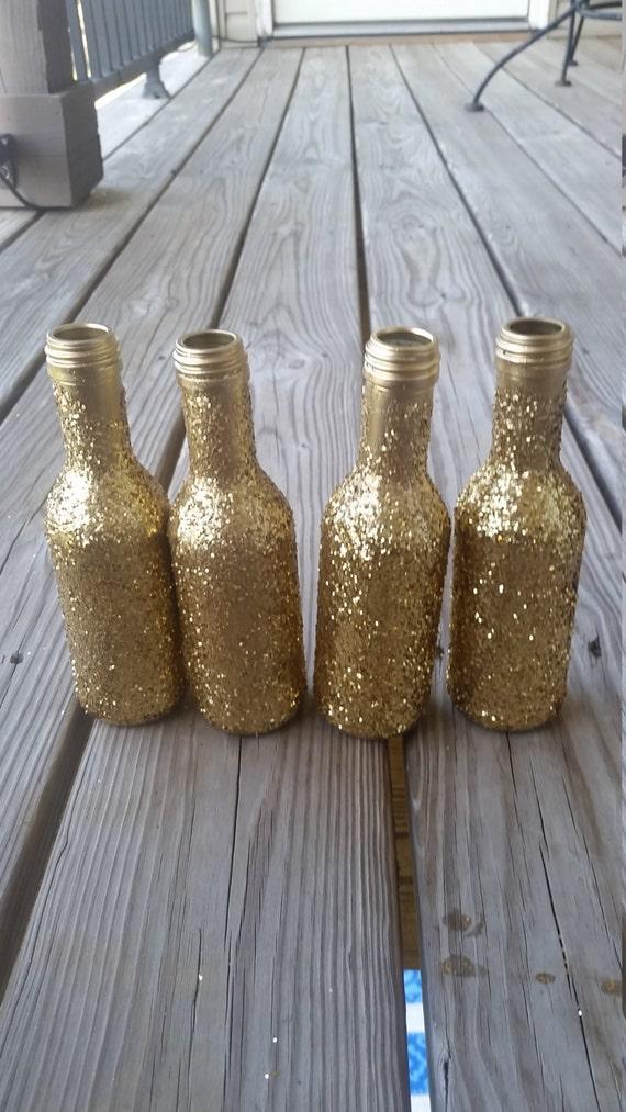 items similar to set of 8 mini wine bottles gatsby wedding gold wine bottle centerpieces. Black Bedroom Furniture Sets. Home Design Ideas