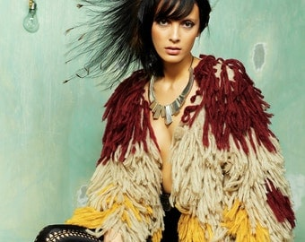 Women Shaggy Knitted Jacket Mix Color