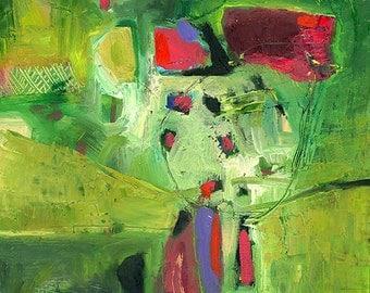 "Original Abstract Painting, Green, ""Misako Rose"" 12x24"