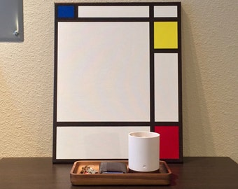 """16"""" x 20"""" Mondrian Inspired Painting on Stretched Canvas"""