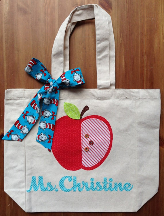 Personalized Name and Apple Teacher Tote Bag with Fabric Bow, Dr. Suess, Cat in the Hat