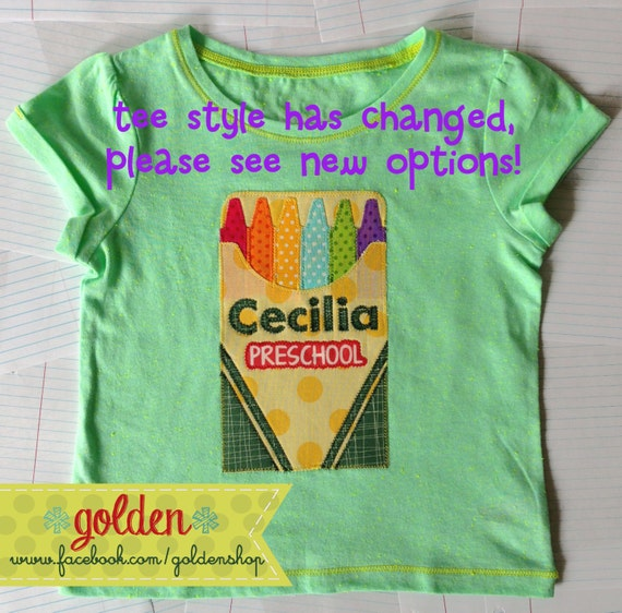 Back to School Name and Grade Crayola Crayon inspired Tee or Dress, First day of school