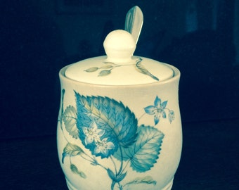 "Sylvac Preserve Honeypot, Jam Pot, Jello Pot, Avon Shape Pattern 3209 Blue and Ivory 4"" x 3"", Immaculate Condition"