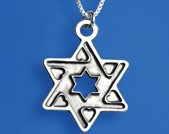 Heart Star of David - Sterling Silver. Wonderful Bat Mitzva present.