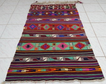 2u002711u0027u0027 X 5u00273u0027u0027 / 90X 160cm Vintage area rug small kilim rug, Pink Flatwoven  Wool Turkish Kilim Rugs, Entry Office Home Rug,Handcrafted Kilim
