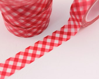 Washi Tape - 1 Roll of Red Gingham Picnic Plaid Stripe Washi Tape