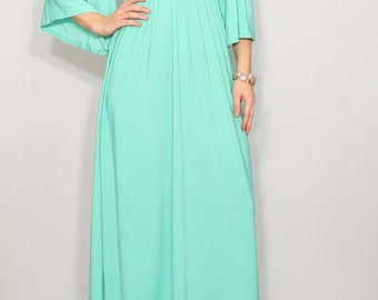 Mint green dress Maxi dress Long Kimono dress Short sleeve dress Women