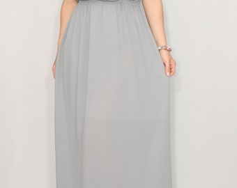 Light grey long dress Bridesmaid dress Chiffon dress Prom dress