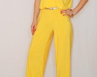 Yellow jumpsuit Sleeveless jumpsuits women Wrap top