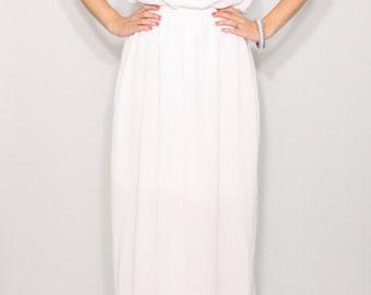 White dress long Wedding dress Chiffon dress
