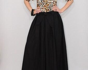 Linen pants Black palazzo pants Wide leg pant skirt High waist