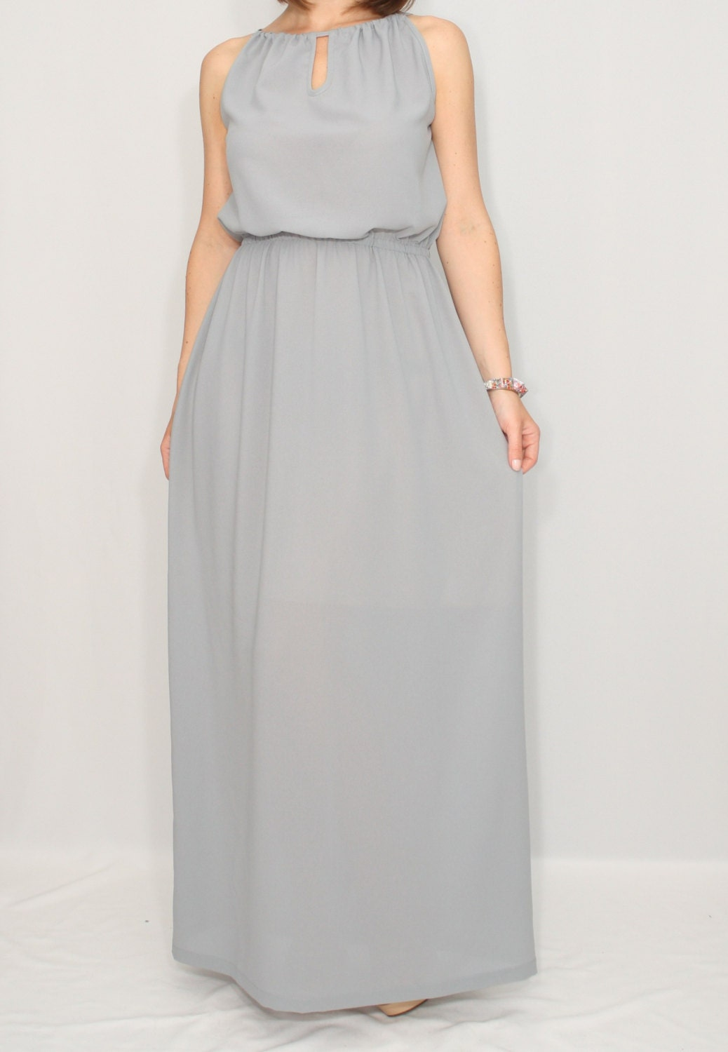 Light grey long dress bridesmaid dress chiffon dress prom for Light grey wedding dress