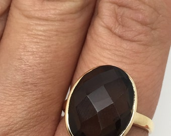 Gold plated ring with Smoky Quartz stone,gold plated ring,stone ring,Smoky Quartz stone,Smoky Quartz jewelry,Smoky Quartz ring,women rings