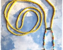 Completely Unique Double/Triple Wrap Beaded Scarf Necklace/Colorful Yellow/Pink/fuschia//Blue/Orange/Bronze Lariat/Y/Boho Tassel/bolo tie