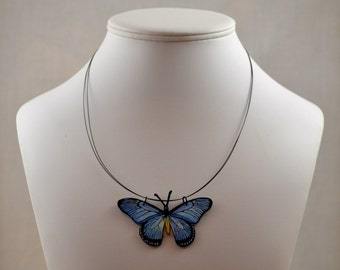 Light Blue Morpho Butterfly Necklace