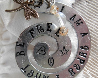 I Am A Gypsy, I Must Be Free Hand Stamped Silver Swirl Necklace |BoHo|Rustic|Gypsy