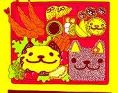 "Cat Bento, Silk Screen Print (11""x17"")"