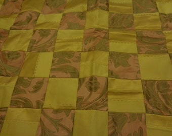 Pink and gold upcycled patchwork throw