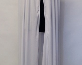 Medieval cloak, white, style your own,120cm long,plain/full hem/add fur!#64