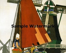 Netherlands Holland Sailboat Boat Travel Tourism European Vintage Poster Repro FREE SHIPPING