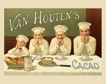 Chocolate Food Cacao  Candy Van Houten's Chef Vintage Poster Repro FREE SHIPPING