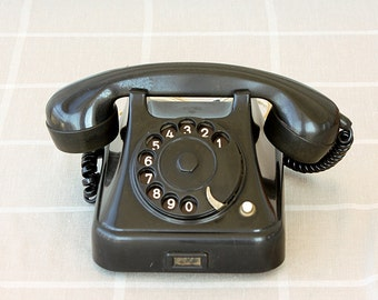 Vintage rotary phone 1950's black bakelite phone Antique telephone Yugoslavian dial phone Classic desk phone Iskra Ata 11 Mid century old