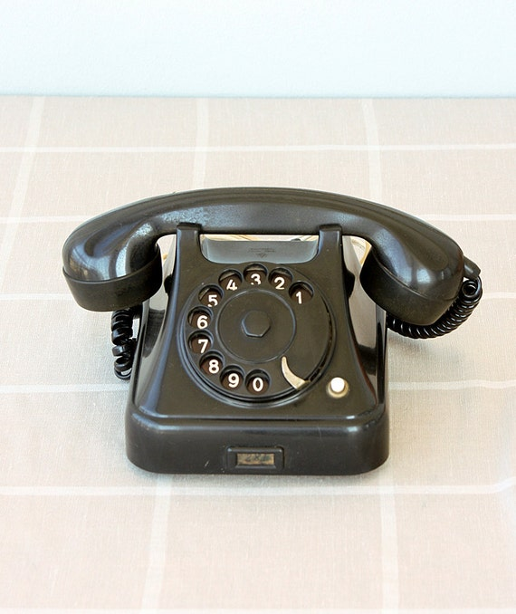 Vintage rotary phone 1950's black bakelite phone Antique telephone Yugoslavian dial phone Classic desk phone Iskra Ata 11 Mid century old