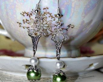 Green White & Antiqued Silver Earrings