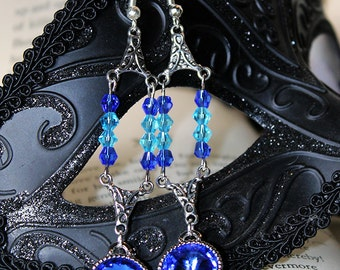 Dark and Light Blue Antiqued Silver Earrings