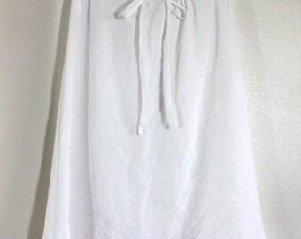 100% White Linen A-Line Skirt on the Bias Knee Length for Messianic Women - Abigail Skirt