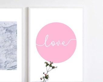 Giclee Print, Minimalist Print, Typography Print, Wall Decor, Love Print, Wall Art, Nursery Print, Pink Blush Rose, Nordic Print, Kids Room