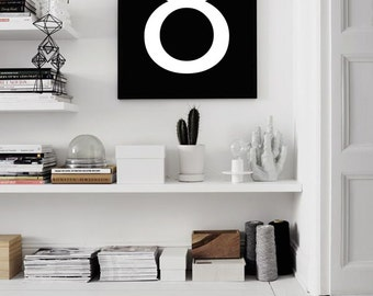 Typography Print, Number Eight, Wall Decor, Wall Art, Black and White, Scandinavian poster print, Nordic, Minimalist art, Numbers, Poster