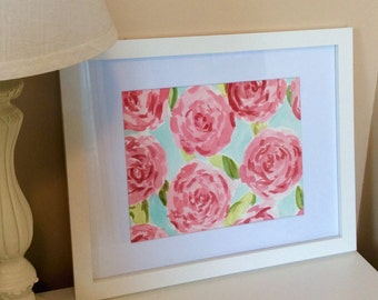 Hand Painted Lilly Pulitzer Pink First Impressions Inspired Watercolor - FREE Shipping!