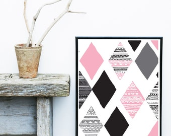 Geometric Print, Instant Download, Printable Art, Geometric Art, Geometric Wall Art, Abstract Art Print, Pink And Grey Art