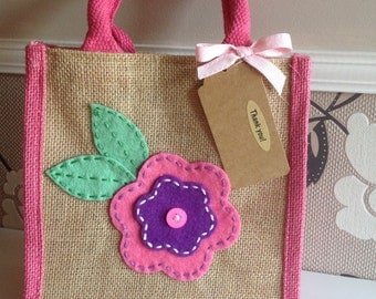 Flower jute bag. Lunch bag/gift bag/present.