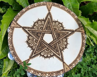 Hand Painted Tambourine 'Five Pointed Indian Star'