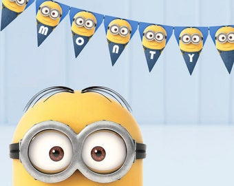 Minion bunting - printable, edit and print as many copies as you like / Minion theme party / Minion flags / Customisable bunting