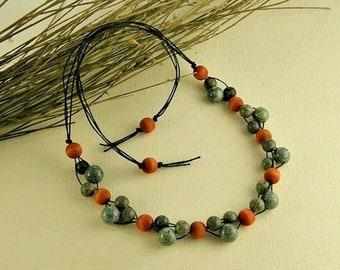 Serpentinite necklace, serpentinite jewelry, serpentinite, necklace , gemstone necklace, gemstone jewelry, wood stone, fashion jewelry