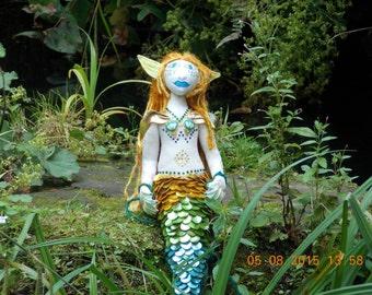 """Musical Mermaid 19"""" Art Doll Hand Made"""