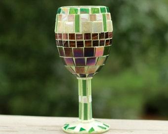 Mosaic wine glass,Wine decor,Glass decor,Wine bar decor,Home decor, Wine glass art, Wine glass tea light