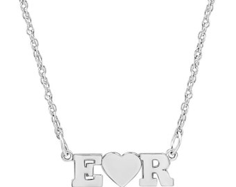 14k solid white gold custom Made Nameplate Necklace select any two letters to Personalize