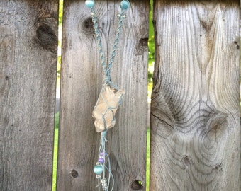 Sky blue clear Quartz hemp wrap