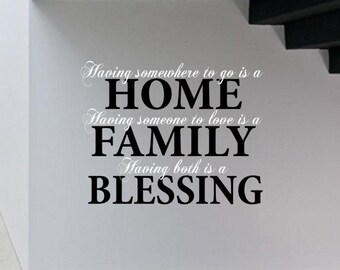 Home, Family, Blessing, custom vinyl decal wall decor.