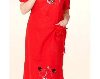 171 Women's summer red dress with applique